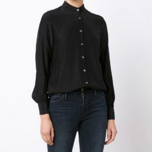 Frame Denim Black 100% Silk blouse button up